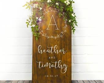 Custom Wedding Signs, Wood Wedding Sign, Couples Name Sign, Wedding Date Sign, Custom Wood Sign, Engagement Gift, Wedding Gift (GP1126)