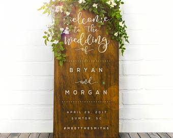 Welcome To Our Wedding Sign Couples Name Sign Wedding Date Sign Custom Wood Sign Engagement Gift Wedding Gift Decor (GP1123-WM)