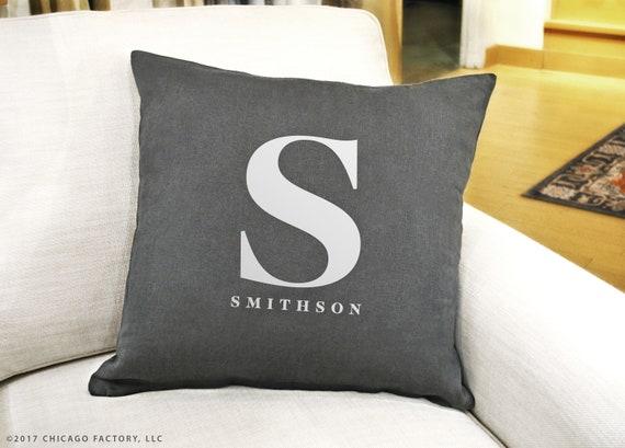 Custom Pillow Covers 40x40 Custom Initial Pillow Last Name Etsy New Initial Pillow Covers