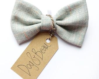 Tweed dog bow tie, duck egg blue dog bow tie, vintage tweed dog bow tie, pet bow tie, gifts for dogs, dog birthday gift, dog wedding bow tie