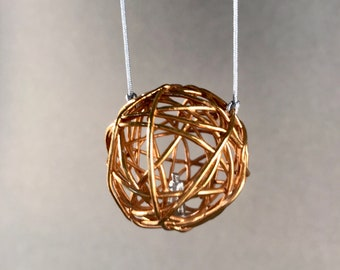 Small soul cage pendant, electroformed jewelry, 24k gold plated pendant, art jewelry, jewelry art, narrative jewelry, jewelry with meaning