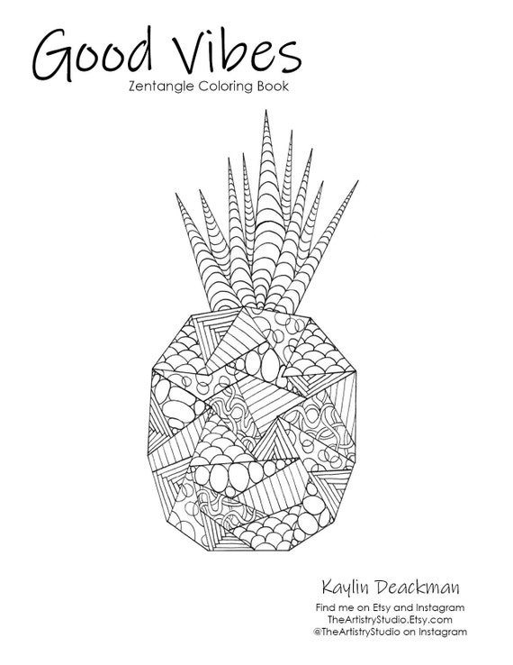 Zen Pineapple Coloring Page Download Printable
