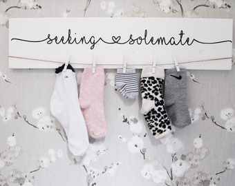 """Laundry Sign    24"""" Laundry Room Decor   Seeking Solemate Sign   Lost Socks    Laundry Sign   Home & Living   Wall Decor   Housewarming Gift"""