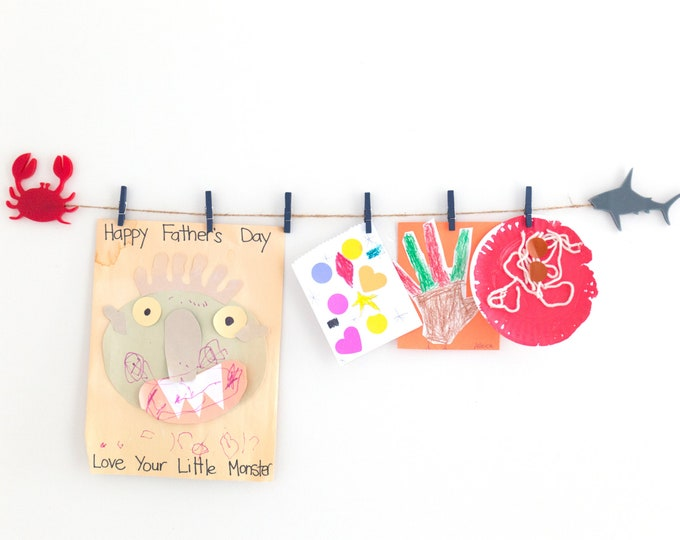 Kids Art Display Sign | Boys Bedroom Wall Decor | Sea Theme Decor | Toddler Room Decor Sign | Playroom Wall Art | Shark Decor | Crab