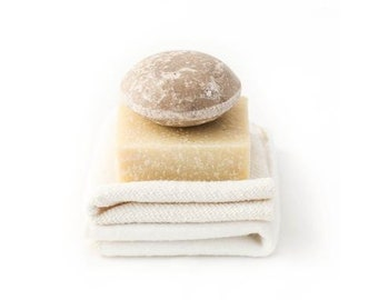CARE | THE ESSENTIALS Baby Bath Bundle | Shampoo Bar and Soap | Bamboo and Cotton Reusable Cloths