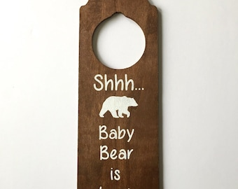 Baby Sleeping Door Hanger Wood Sign   FREE SHIPPING