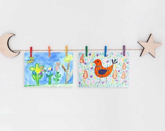 Kids Art Display Sign | Moon and Stars Images