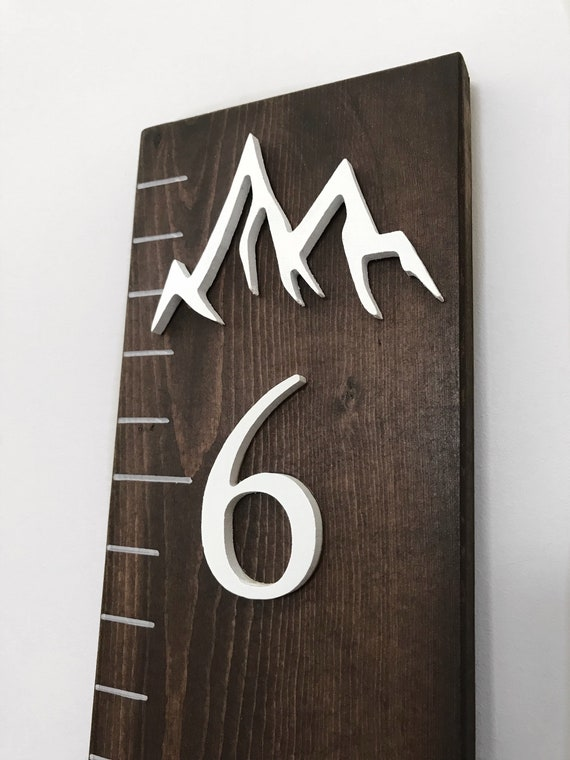 Mountain Growth Chart Ruler Mountain Wood Art Wall Ruler Etsy