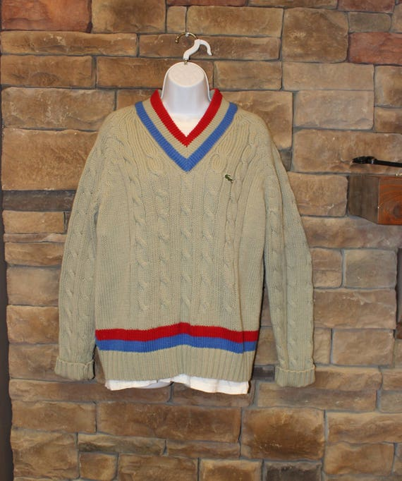 a75b866160bc3 Vintage Izod LaCoste Sweater V-Neck Cable Knit Pullover
