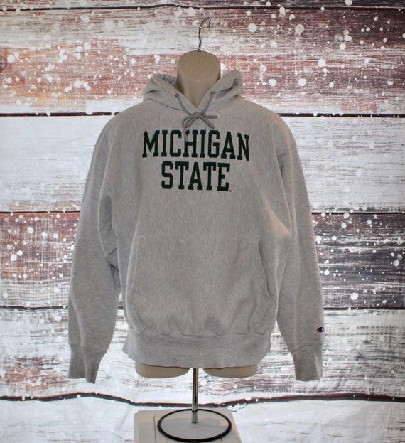Vintage Michigan State Champion Reverse Weave Hood