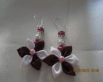 Burgundy and white satin flower earring