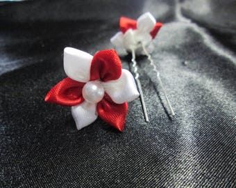 SET of 2 hair pins, red and white satin flower