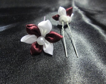 SET of 2 hair pins, Burgundy and white satin flower