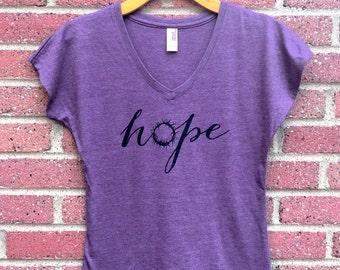 Hope Shirt | V Neck Womans Tee, Purple, Crown of Thorns, Christian Shirt, Faith, Religious, Inspirational, Gift, Super Soft, Triblend