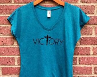 Victory Shirt   V Neck Womans Tee, Teal, Crucifix, Christian Shirt, Faith, Religious, Inspirational, Gift, Super Soft, Triblend