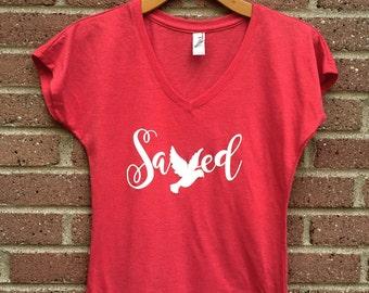 Saved Shirt | V Neck Womans Tee, Red, Dove, Christian Shirt, Faith, Religious, Inspirational, Gift, Super Soft, Triblend