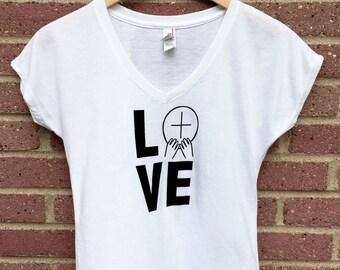 Love Shirt | V Neck Womans Tee, White, Eucharist, Christian Shirt, Faith, Religious, Inspirational, Gift, Super Soft, Triblend