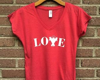 Christmas Love Shirt   V Neck Womans Tee, Red, Manger, Christian Shirt, Faith, Religious, Inspirational, Gift, Super Soft, Triblend