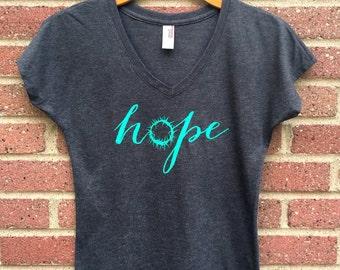Hope Shirt | V Neck Womans Tee, Gray, Crown of Thorns, Christian Shirt, Faith, Religious, Inspirational, Gift, Super Soft, Triblend