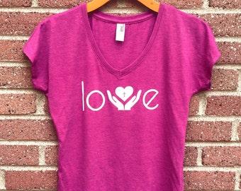 Love Shirt | V Neck Womans Tee, Pink, Helping Hands, Heart, Christian Shirt, Faith, Religious, Inspirational, Gift, Super Soft, Triblend