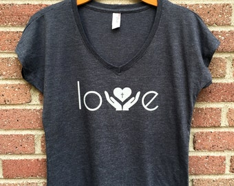 Love Shirt | V Neck Womans Tee, Gray, Helping Hands, Heart, Christian Shirt, Faith, Religious, Inspirational, Gift, Super Soft, Triblend