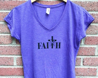 Faith Shirt | V Neck Womans Tee, Purple, Cross, Christian Shirt, Faith, Religious, Inspirational, Gift, Super Soft, Triblend