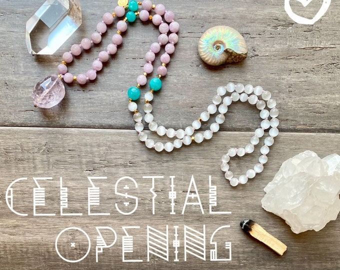 Featured listing image: 108 Mala Necklace Lilac Kunzite Mala Kette Selenite Mala Amethyst Mala Necklace Empath Protection Spiritual Necklace Sacred Geometry Jewelry