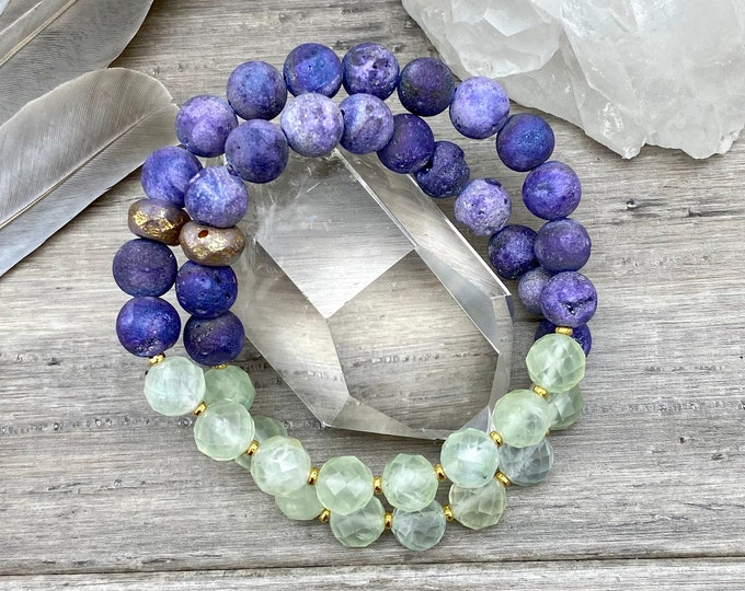 Featured listing image: Prehnite Mala Bracelet Mystic Druzy Bracelet Spiritual Mala Kette Empath Protection Bracelet Yoga Gifts for Her Spiritual Gifts Empath Gifts