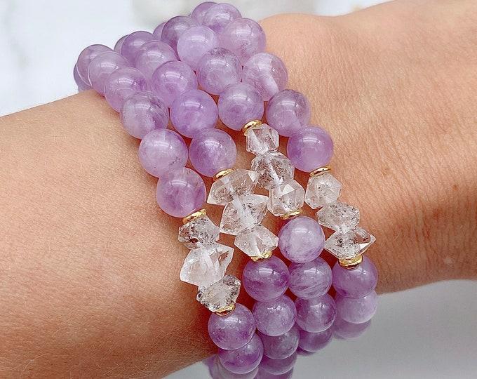 Featured listing image: Spiritual Attunement Herkimer Diamond Mala Bracelet Lavender Amethyst Mala Kette Empath Light Energy Jewelry Starseed Yoga Gift Mom Her