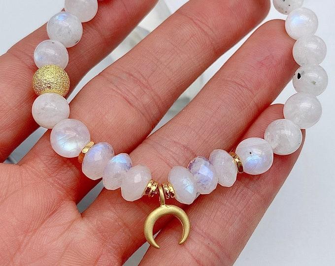 Featured listing image: Moon Magic Gold Moonstone Mala Bracelet Spiritual Light Energy Jewelry Empath Aura Protection Yoga Self Gift Mala Kette Rainbow Mom