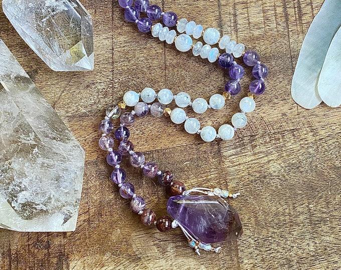 Featured listing image: Divination Ametrine Auralite23 Blue Flash Moonstone Amethyst Angel Aura Mala Protection Necklace Spiritual Jewelry Empath Starseed Yoga Gift