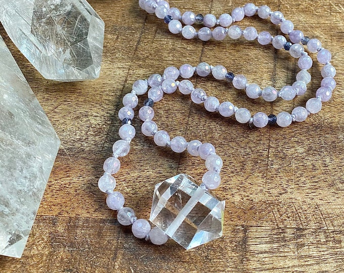 Featured listing image: Lilac Amethyst Angel Aura Mala Necklace Light Energy Aura Quartz Iolite Double Point Crystal Mala Kette Spiritual Jewelry Yoga Gift Her 108