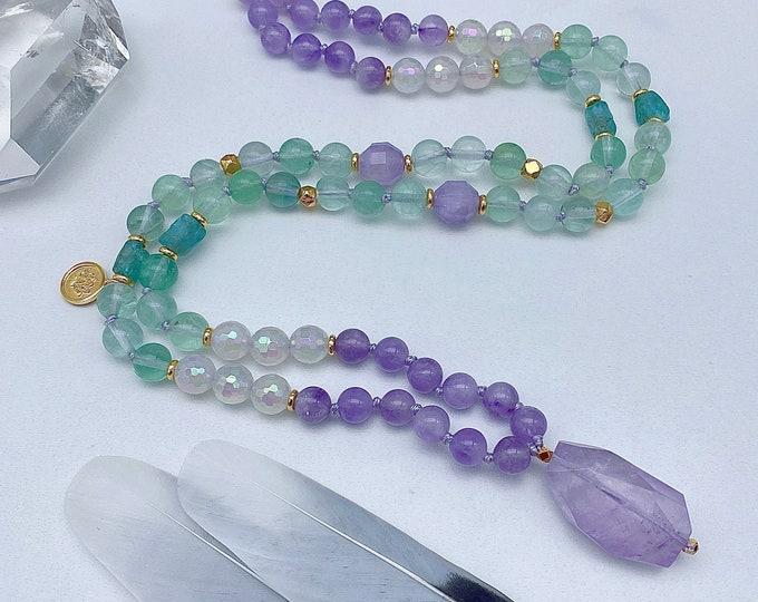 Featured listing image: Spring Lotus Light Energy Angel Aura Mala Kette Necklace Apatite Amethyst Crystal Fluorite Gold Empath Protection Spiritual Yoga Gift Her