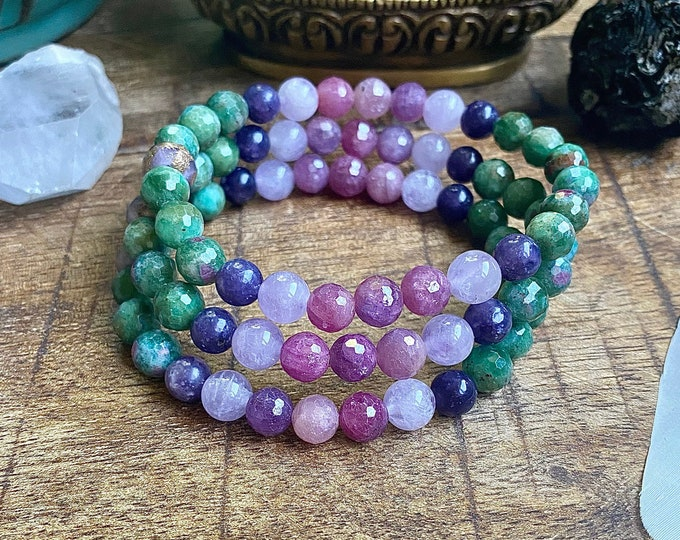 Featured listing image: New Earth Lotus Mala Bracelet Fuchsite Ruby Lepidolite Lilac Amethyst Starseed Lemurian Spiritual Yoga Gift Empath Earthing Jewelry Psychic