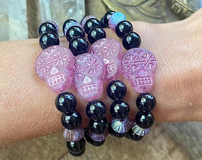 Featured listing image: Sugar Skull Tourmaline Mala Bracelet Bruja Mystic Halloween Empath Protection Bracelet Spiritual Shield Negative Energy Magic Kette Mala her