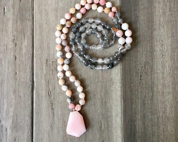 Featured listing image: Pink Opal Heart Chakra Mala Necklace, Chakra Necklace, Yoga Jewerly, Mala Beads, Yoga Necklace, Pink Opal Necklace