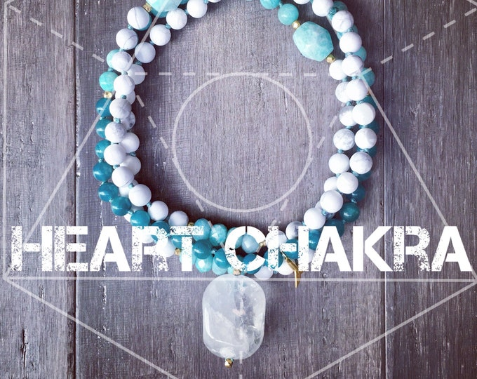 Featured listing image: HEART CHAKRA ATTUNEMENT Mala Necklace, 108 Beads, Amazonite Necklace, Chakra, Mala Necklace, Mala, Meditation Necklace, Yoga,