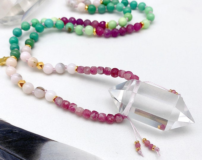 Featured listing image: Heart Chakra Activation Protection Mala Necklace Pink Tourmaline Ruby Crystal Chrysoprase Opal Mala Kette Spiritual Yoga Gift for her Empath