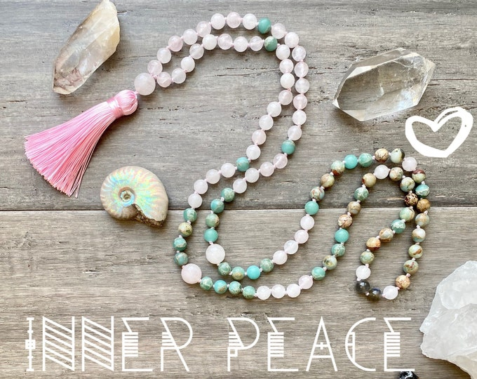 Featured listing image: 108 Mala Necklace Rose Quartz Mala Kette African Opal Yoga Necklace Spiritual Necklace Empath Protection Sacred Geometry Jewelry