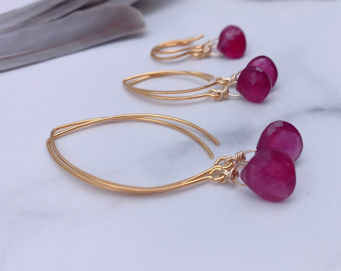 Featured listing image: Ruby Earrings Gold Earrings Ruby Heart Chakra Earrings Goddess Earrings Stocking Stuffers for Women Yoga Gifts for Her Spiritual Gifts Gifts