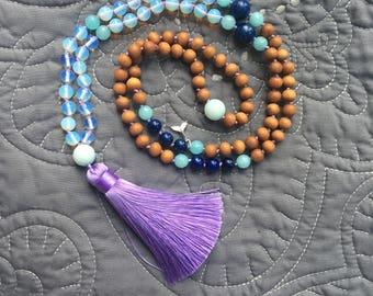 Ocean Opalite Mala Necklace, Mala Necklace 108, Mala Tassel Necklace, Boho Necklace, Mala Necklace, Handknotted Necklace, 108 Beads,
