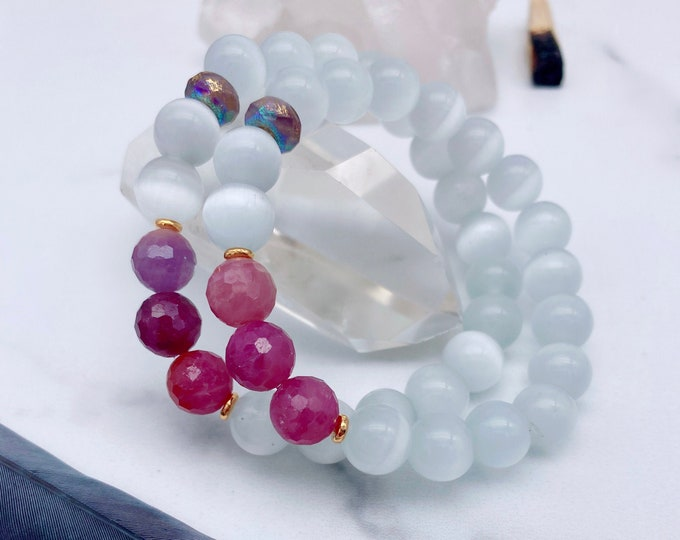 Featured listing image: Ruby Mala Bracelet Selenite Mala Kette Aura Protection Bracelet Spiritual Yoga Gift Empath Light Energy Sacred Heart Geometry Valentine Gift