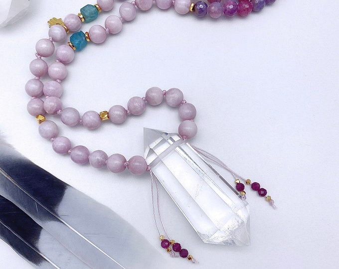Featured listing image: Enlightened Connection Lilac Kunzite Mala Necklace Crystal Mala Kette Raw Apatite Ruby Sacred Heart Empath Protection Yoga Spiritual Gift