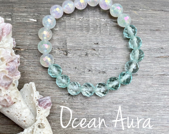 Featured listing image: Ocean Angel Aura Bracelet Aura Quartz Bracelet Ocean Bracelet Spiritual Gifts Angel Aura Mala Kette Yoga Gifts Spirit Quartz Bracelet