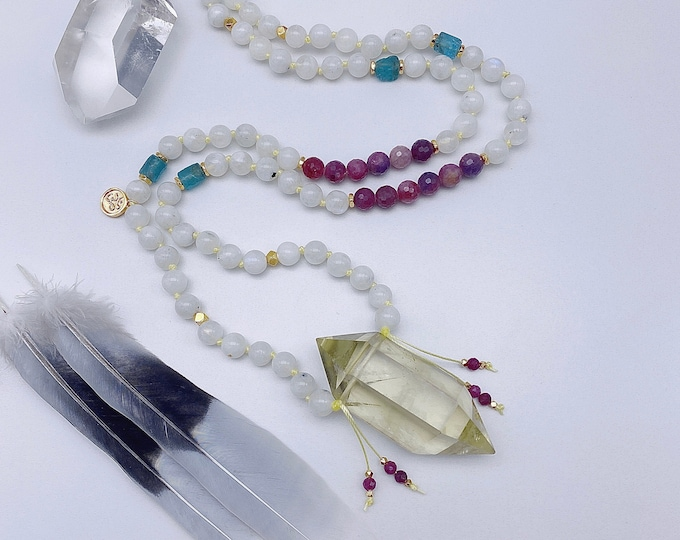 Featured listing image: Moonbeams Moonstone & Citrine Mala Kette Double Point Crystal Mala Necklace Light Energy Jewelry Spiritual Yoga Gift Apatite Ruby Starseed
