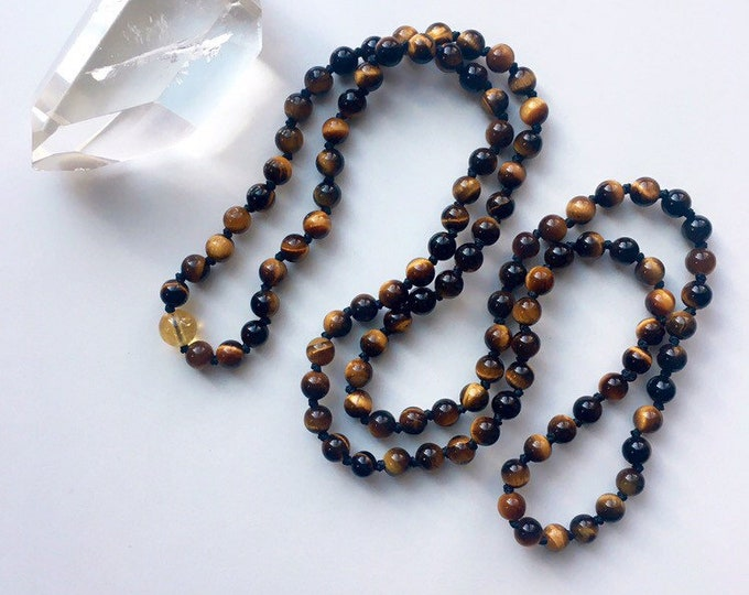 Featured listing image: Solar Ray Earth Energy Tigers Eye Mala Necklace