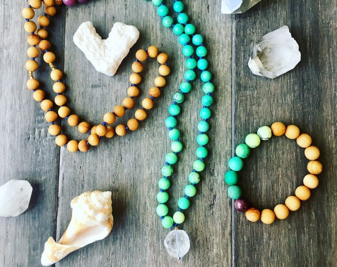 Featured listing image: Green Opal Chakra Vitality Mala Necklace