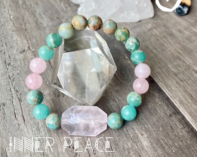 Featured listing image: Inner Peace Rose Quartz Bracelet African Jasper Kette Mala Reiki Bracelet Empath Protection Bracelet Healing Bracelet Yoga Bracelet