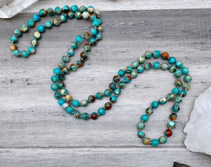 Featured listing image: Calming African Opal Mala Necklace Empath Gifts Sacred Geometry Necklace Healing Mala Mens Mala Yoga Gifts for guys Kette Mala