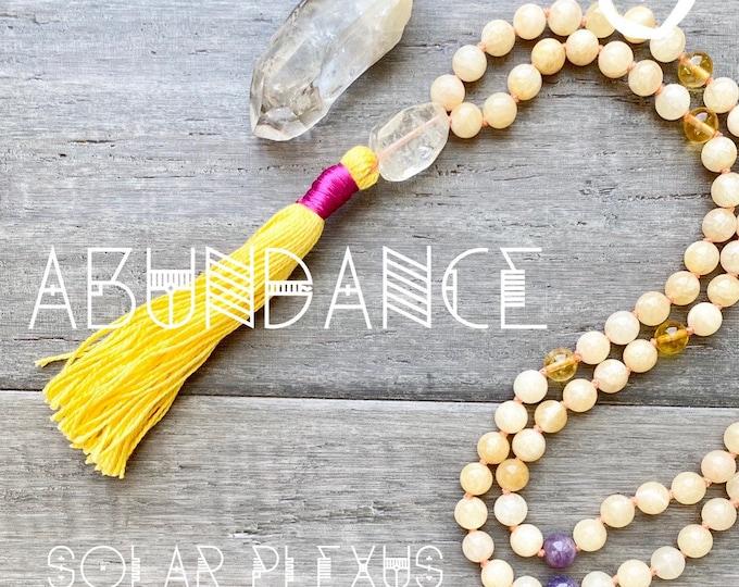Featured listing image: 108 Mala Necklace Abundance Mala Kette Jade Mala Necklace Spiritual Necklace Empath Protection Sacred Geometry Jewelry